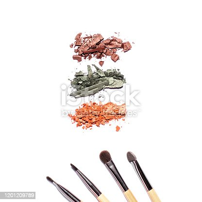 861986852 istock photo Eyeshadow palette in warm tones and makeup brushes of different sizes isolated on white background, top view, copy space. Crashed eyeshadow samples on white, beauty concept 1201209789