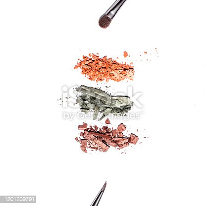861986852 istock photo Eyeshadow palette in warm tones and makeup brushes of different sizes isolated on white background, top view, copy space. Crashed eyeshadow samples on white, beauty concept 1201209791
