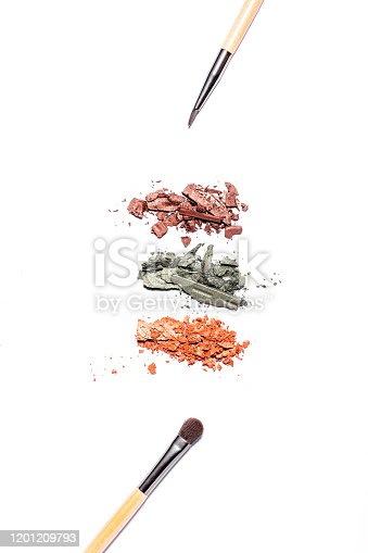 861986852 istock photo Eyeshadow palette in warm tones and makeup brushes of different sizes isolated on white background, top view, copy space. Crashed eyeshadow samples on white, beauty concept 1201209793