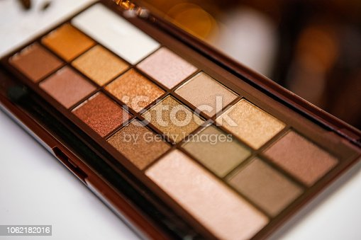 Close up shot of eyeshadow palette with shallow depth of field