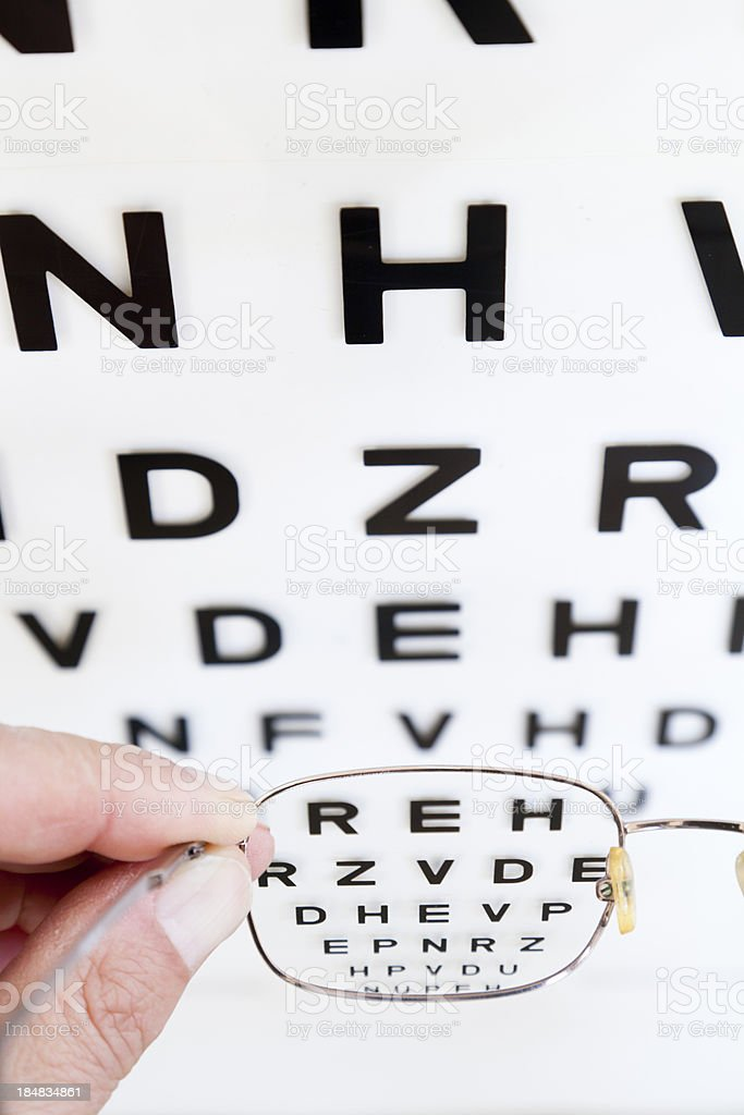 Eyesight chart and glasses showing clear vision at opticians stock photo