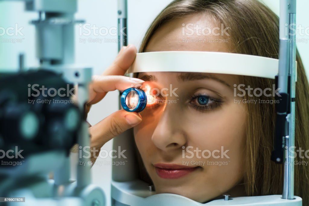 Eyesight exam stock photo