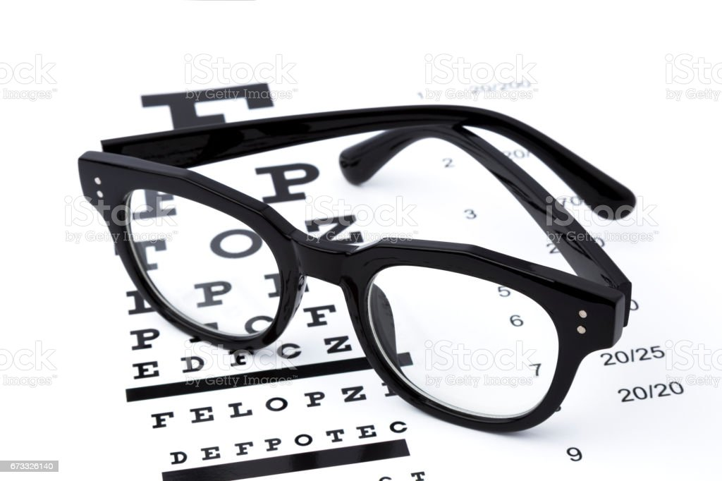 eyesight test with black glasses and snellen chart stock photo