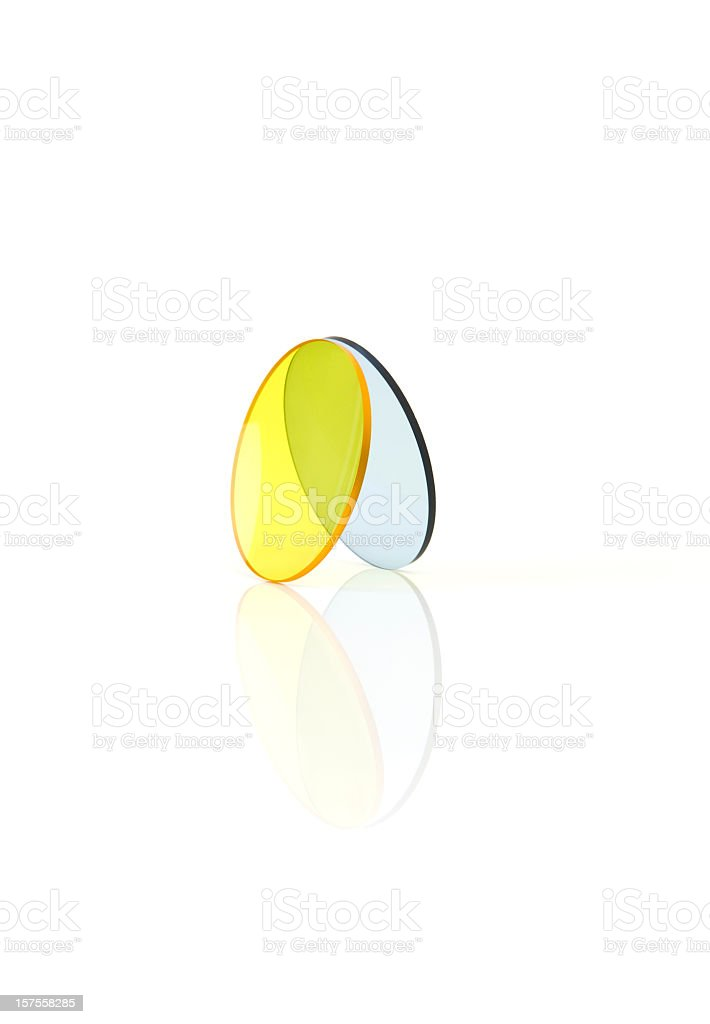 Eyewear glasses series with yellow and blue stock photo