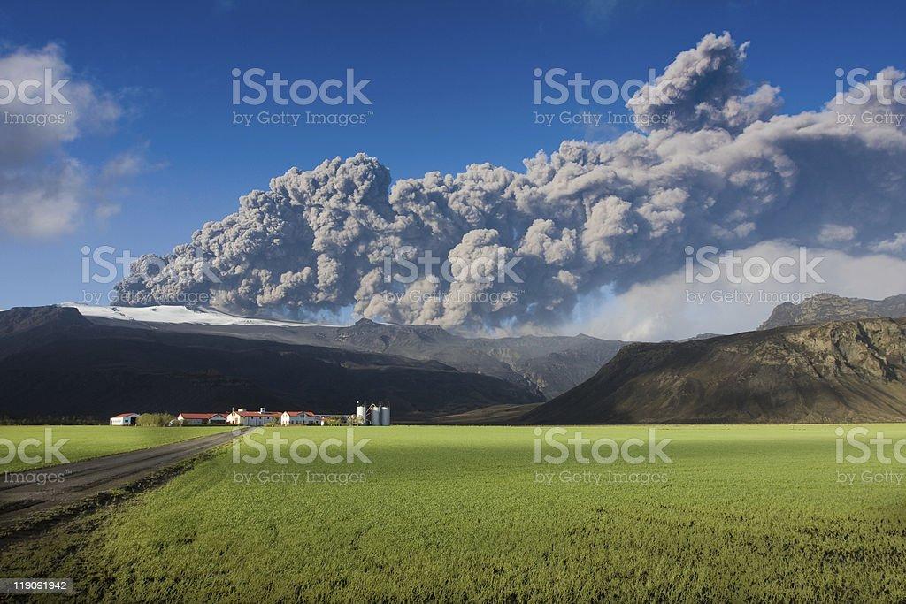 Eyjafjallajokull eruption stock photo