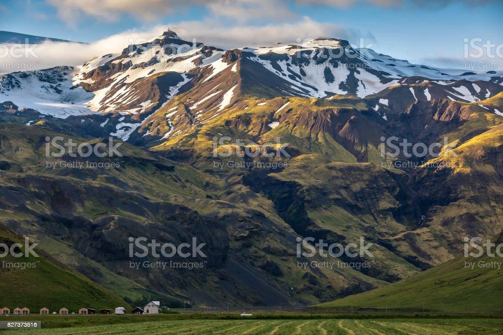 Eyjafjallajokull volcano at sunset in Iceland stock photo