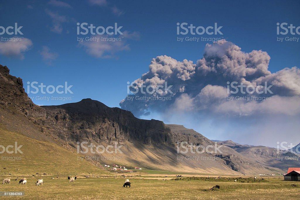 Eyjafjallajokull volcano eruption, Iceland stock photo