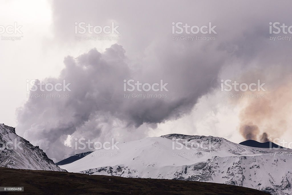 Eyjafjallajokull volcano eruption in Iceland stock photo