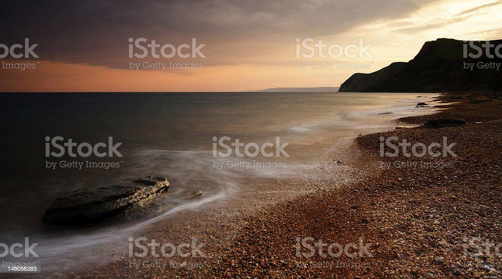 Eype Beach Sunset royalty-free stock photo