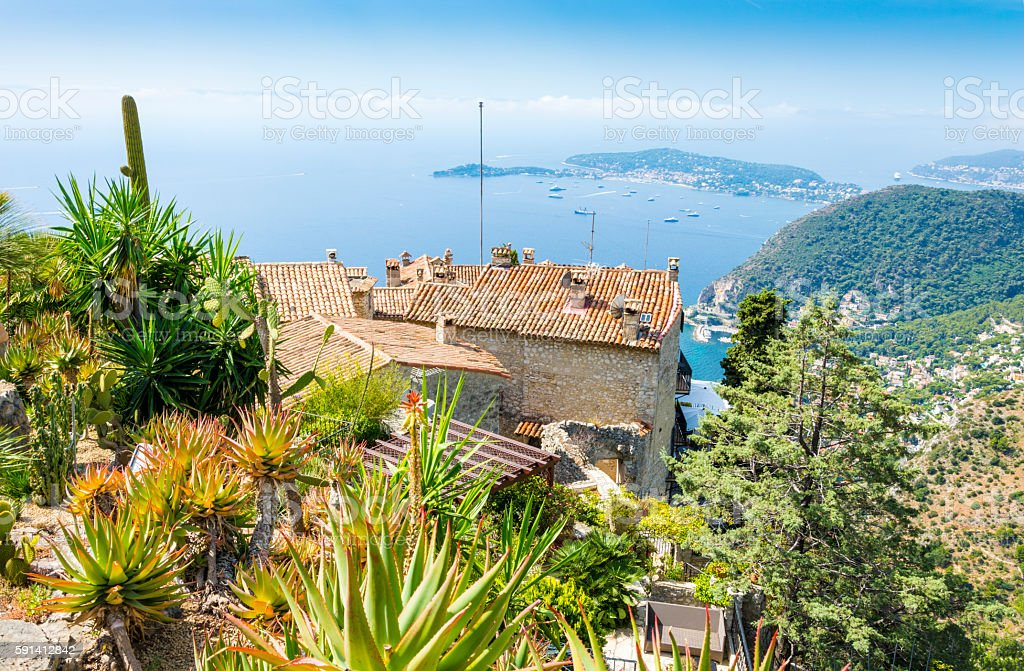 Eze and Cote d'Azur Coast in France stock photo