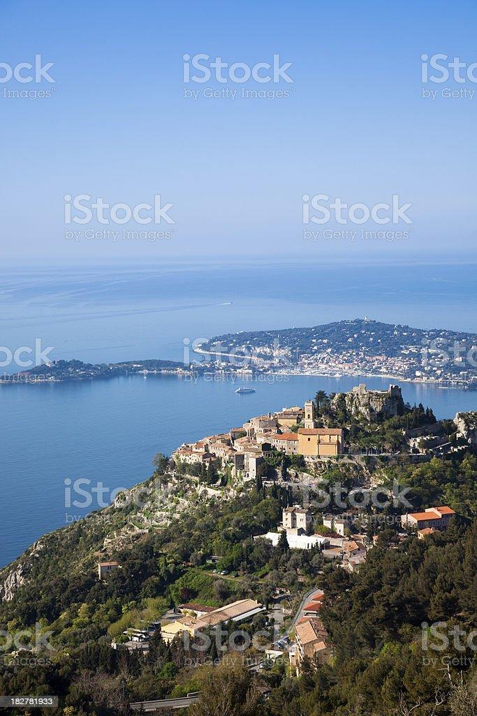 Eze Village and Saint Jean Cap Ferrat (vertical) stock photo