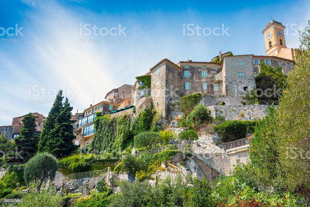 Eze Village on mountain side, France stock photo