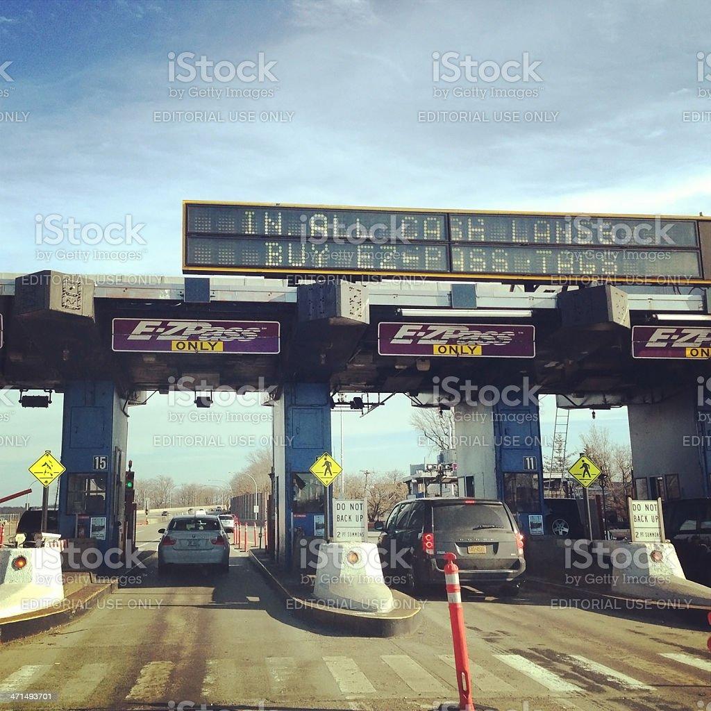 E-ZPass on Throgs Neck Bridge in New York royalty-free stock photo