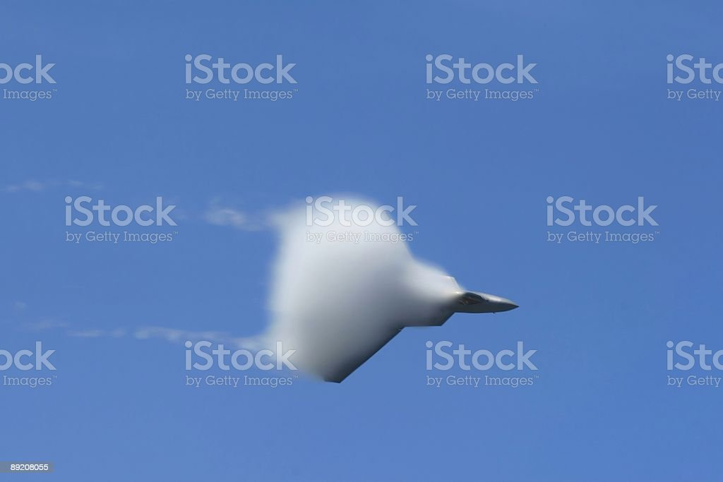 F-22a Raptor engulfed in vapor royalty-free stock photo