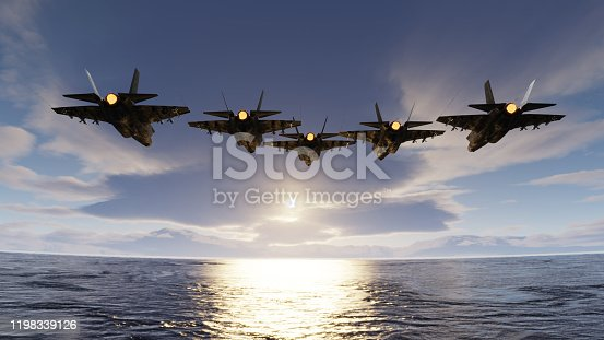 f35 jets flypast formation over the ocean low attitude flying 3d render