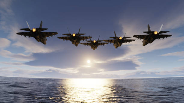 f35 jets flypast formation over the ocean low attitude flying 3d render f35 jets flypast formation over the ocean low attitude flying 3d render arrangement stock pictures, royalty-free photos & images