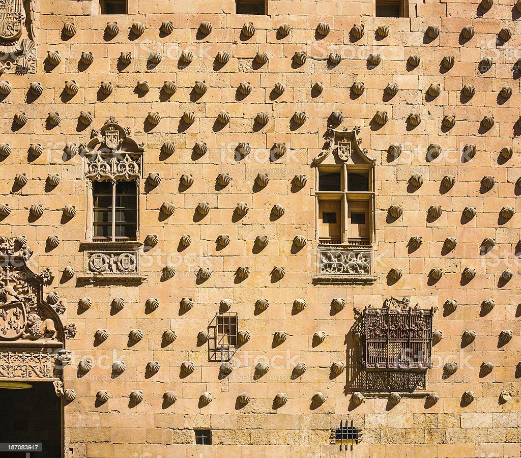 Façade Casa de las Conchas in Salamanca, Spain stock photo