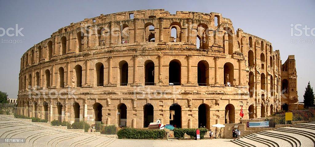 Façade of El Djem Colosseum stock photo