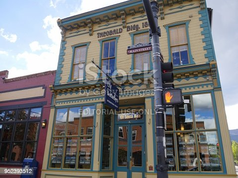 MANITOU SPRINGS, COLORADO—OCTOBER 2017:   Attractive façade of old buildings at the main street of Manitou Springs in Colorado.