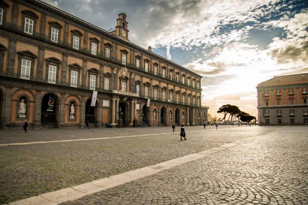 Façade of Royal Palace in Naples, Italy stock photo