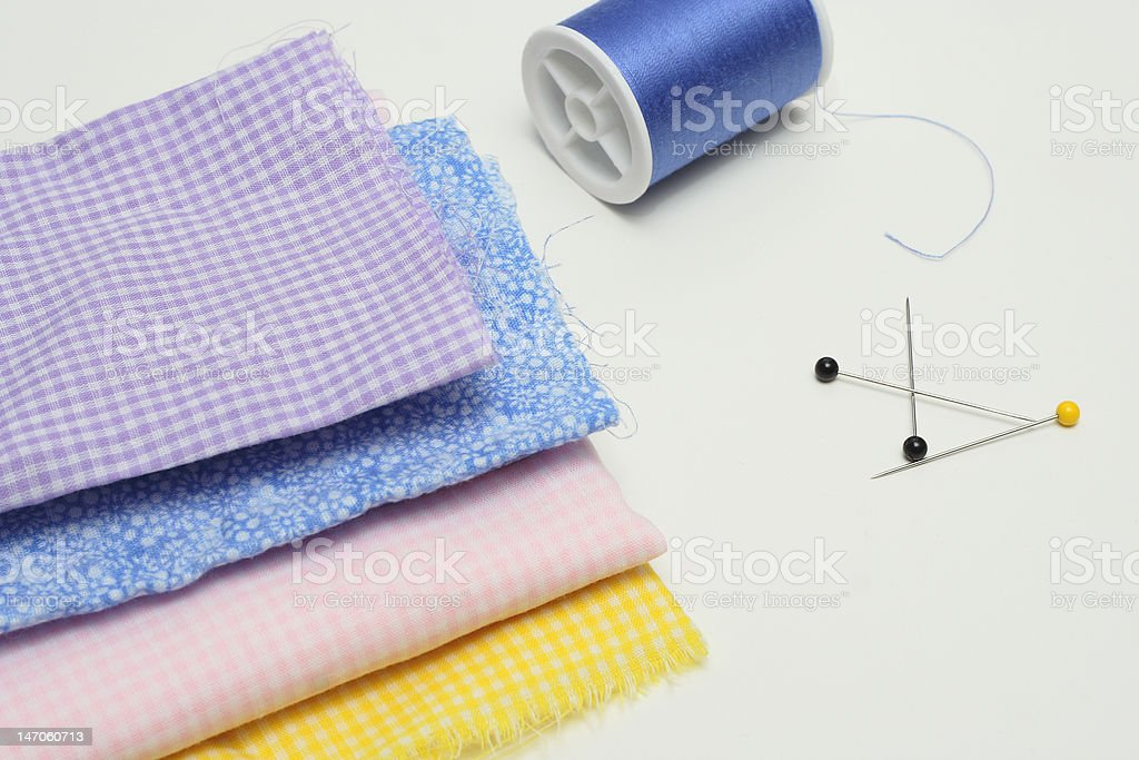 Fabric and Thread for sewing or quilting royalty-free stock photo