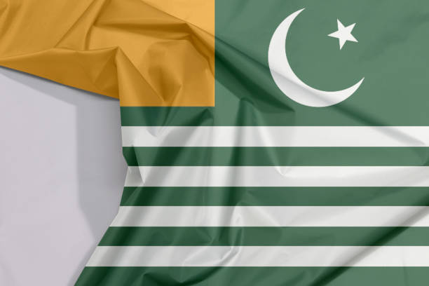 Fabric Azad Kashmir flag crepe and crease with white space. stock photo