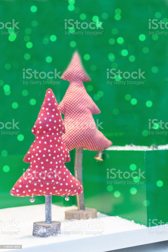 Fabric Christmas Tree On Green Background With Beautiful Bokeh Handmade Christmas Trees As A Save Nature Concept Stock Photo Download Image Now Istock