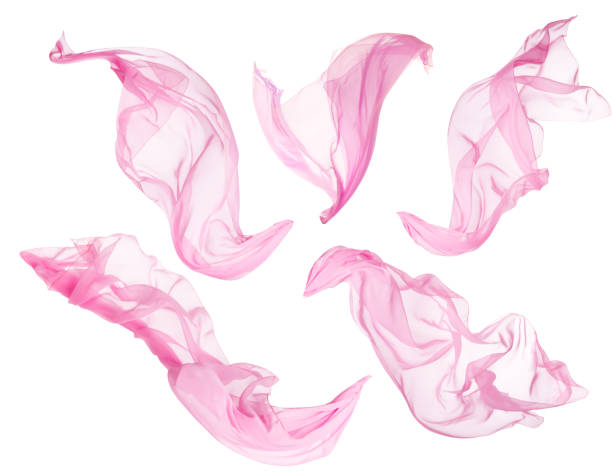fabric cloth flowing on wind, flying blowing pink silk, white isolated - flowing stock pictures, royalty-free photos & images