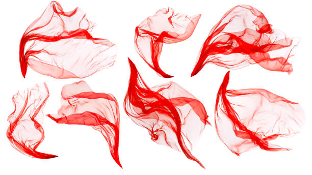 Fabric Cloth Flowing on Wind, Flying Blowing Red Silk, White Isolated stock photo