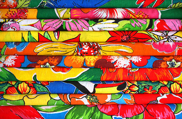 Fabric cloth for sale on a specialized shop Fabric cloth, tropical and saturated colors saturated color stock pictures, royalty-free photos & images