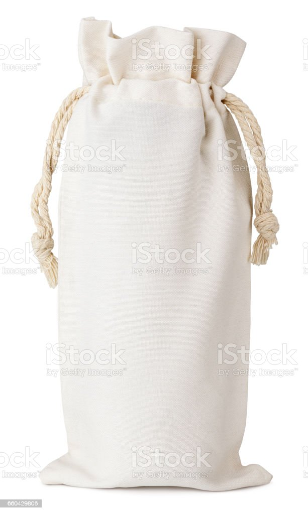 fabric cotton small bag isolated on white stock photo