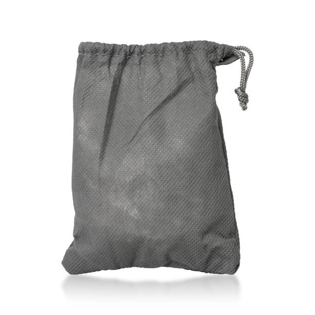 Fabric drawstring bag isolated on white background. Fabric bag with rope template. ( Clipping paths ) stock photo