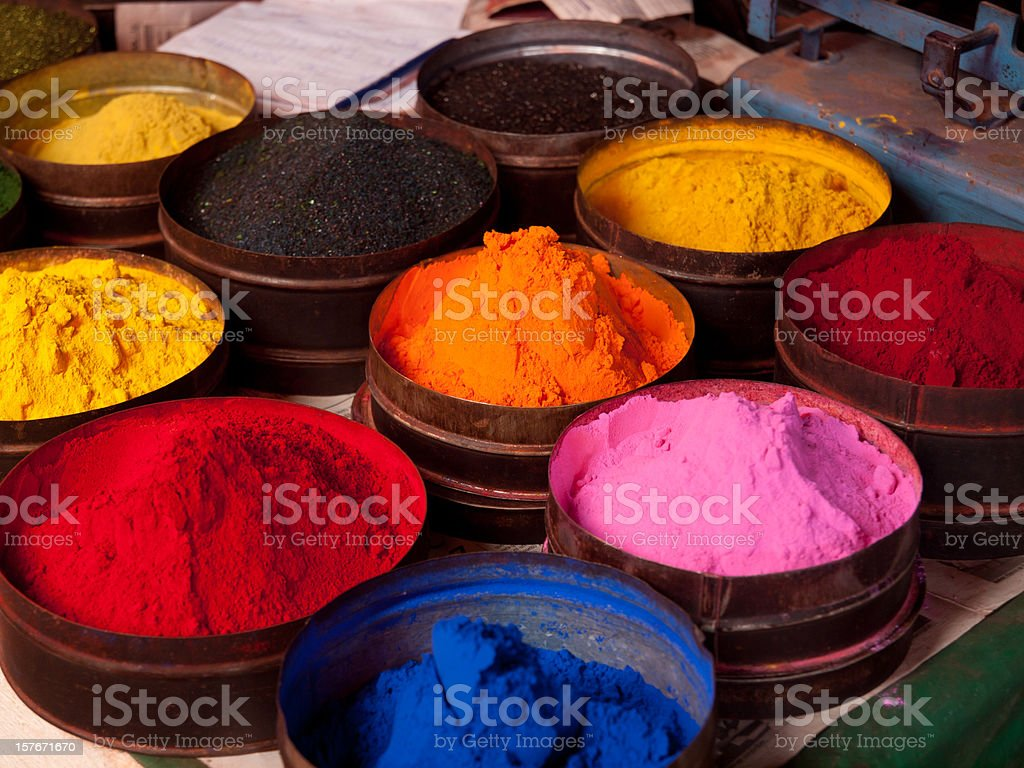 Fabric dyes in Cuzco, Peru stock photo