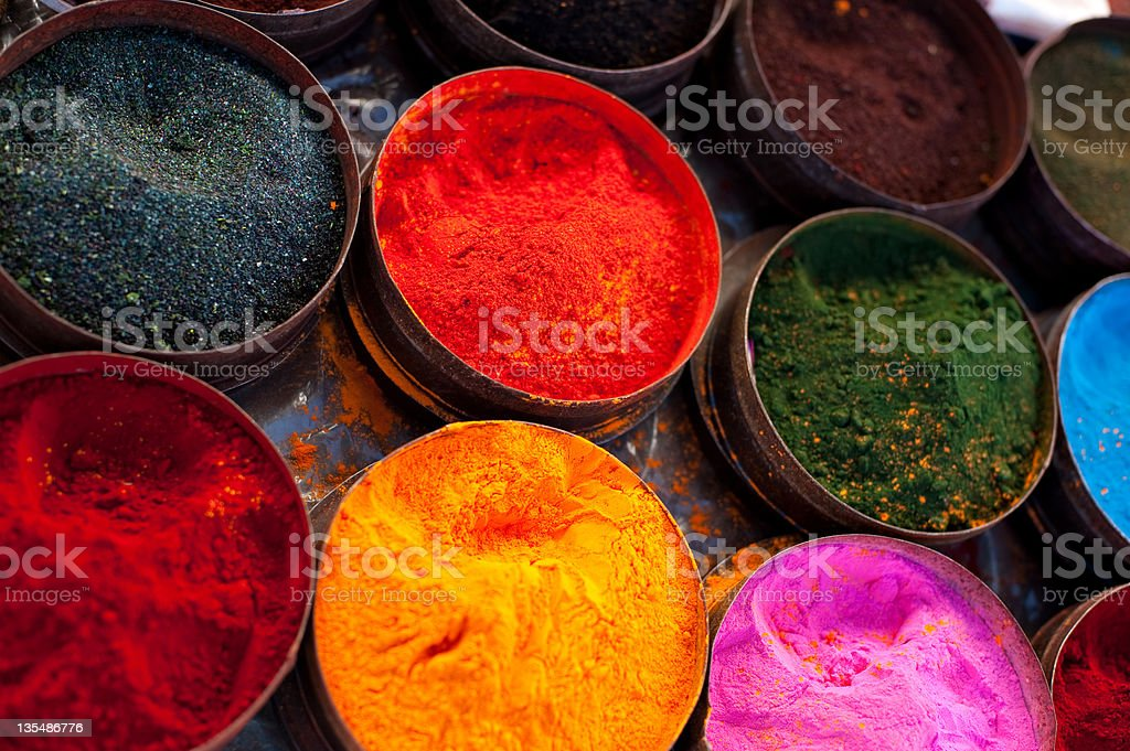 Fabric dyes in Peru royalty-free stock photo