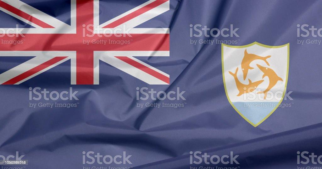 Fabric flag of Anguilla. Crease of Anguilla flag background. stock photo