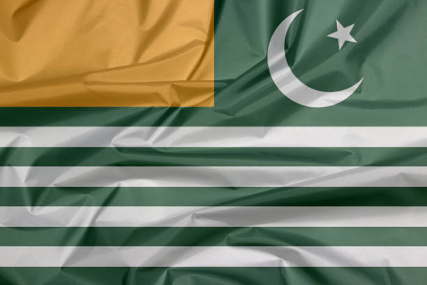 Fabric flag of Azad Kashmir state flag. stock photo