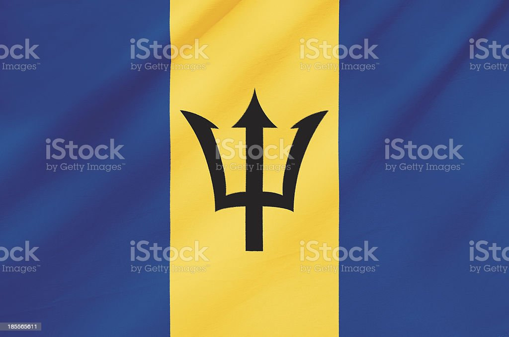 Fabric Flag of Barbados stock photo