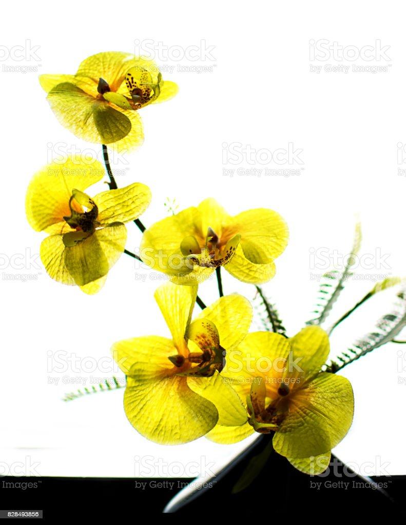 Fabric flowers in vase stock photo