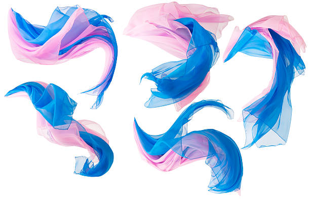 Fabric Flowing Cloth Wave, Silk Waving Satin, Pink Blue White Fabric Flowing Cloth Wave, Silk Waving Flying Satin, Pink Blue Color over White Background floating fabric stock pictures, royalty-free photos & images