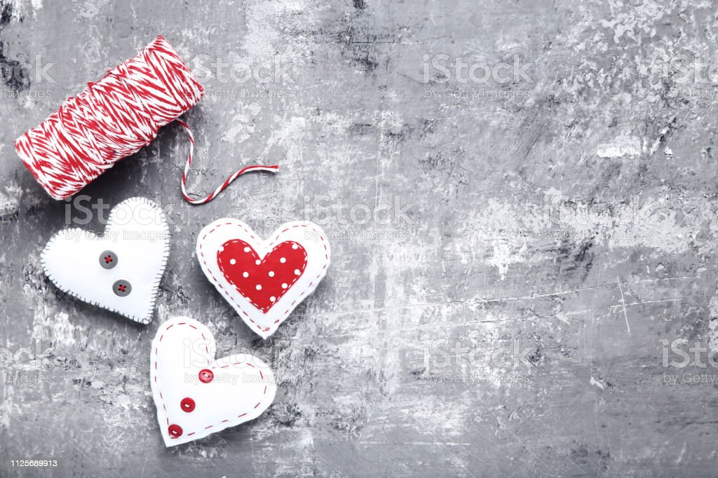 Fabric Hearts With Rope On Gray Wooden Table Stock Photo Download Image Now Istock