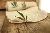 Fabric made from hemp . Cannabis fiber and leaf