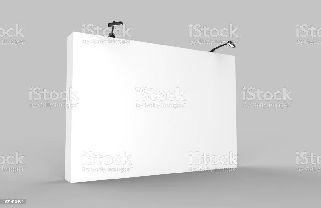 Fabric Pop Up basic unit Advertising banner media display backdrop. Blank white 3d render illustration stock photo