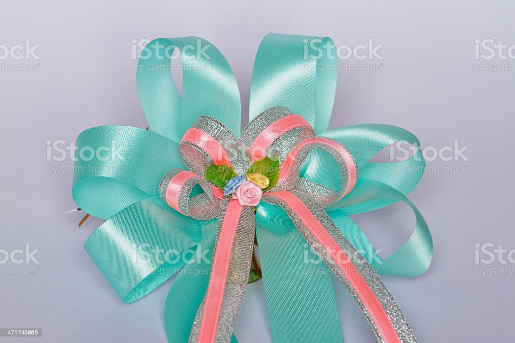 Fabric ribbon roses. stock photo