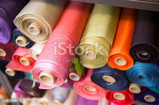 Korean traditional fabric rolls at shop