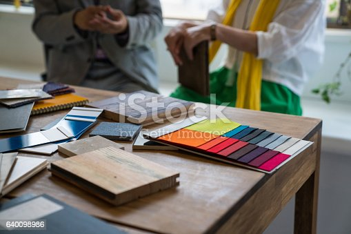 fabric samples in an interior design office stock photo more