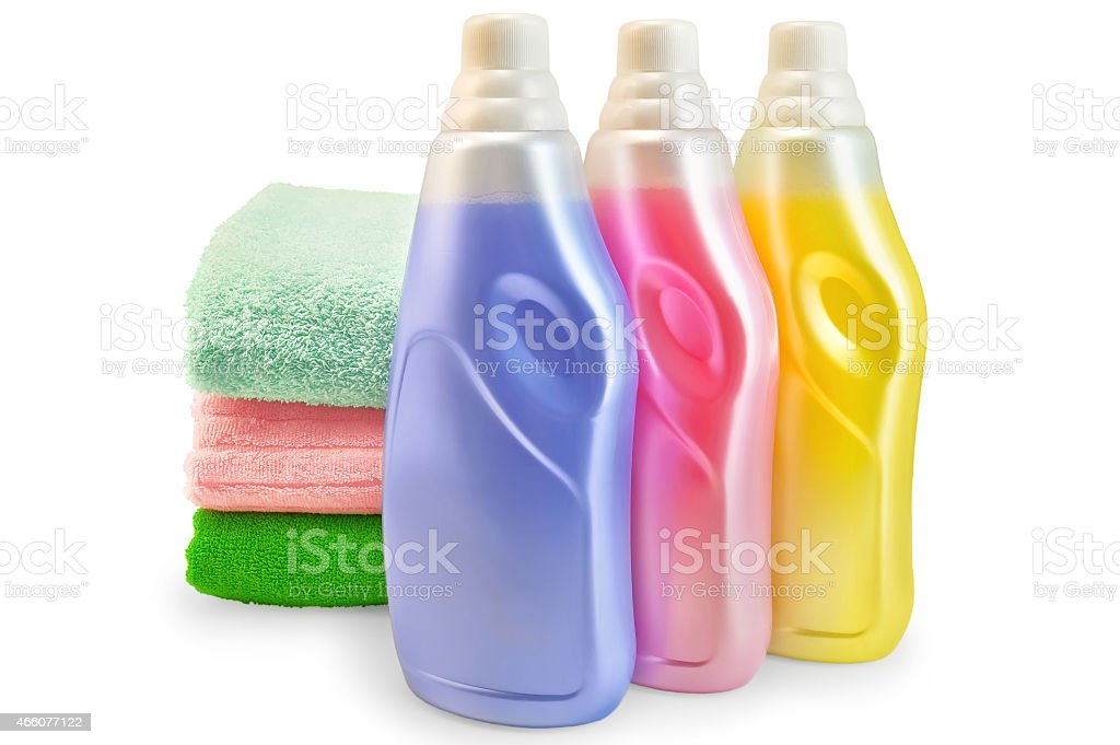 Fabric softener with a stack of towels stock photo