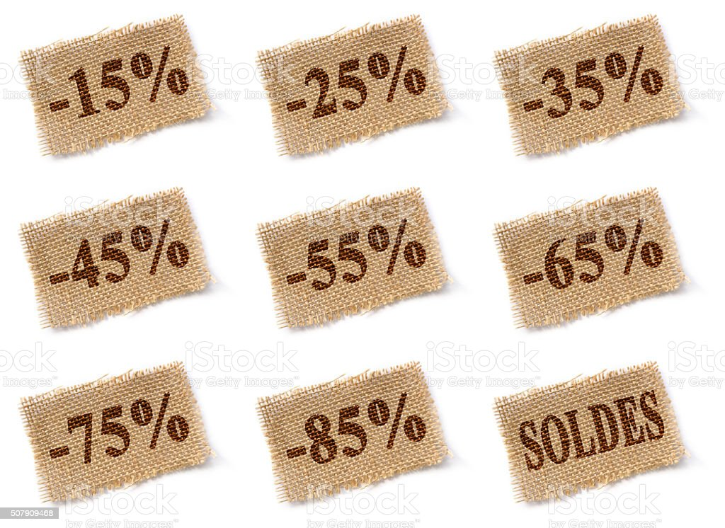 Fabric tag with discounts soldes set stock photo