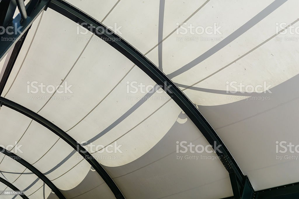 fabric tensile roof structure with skylight stock photo