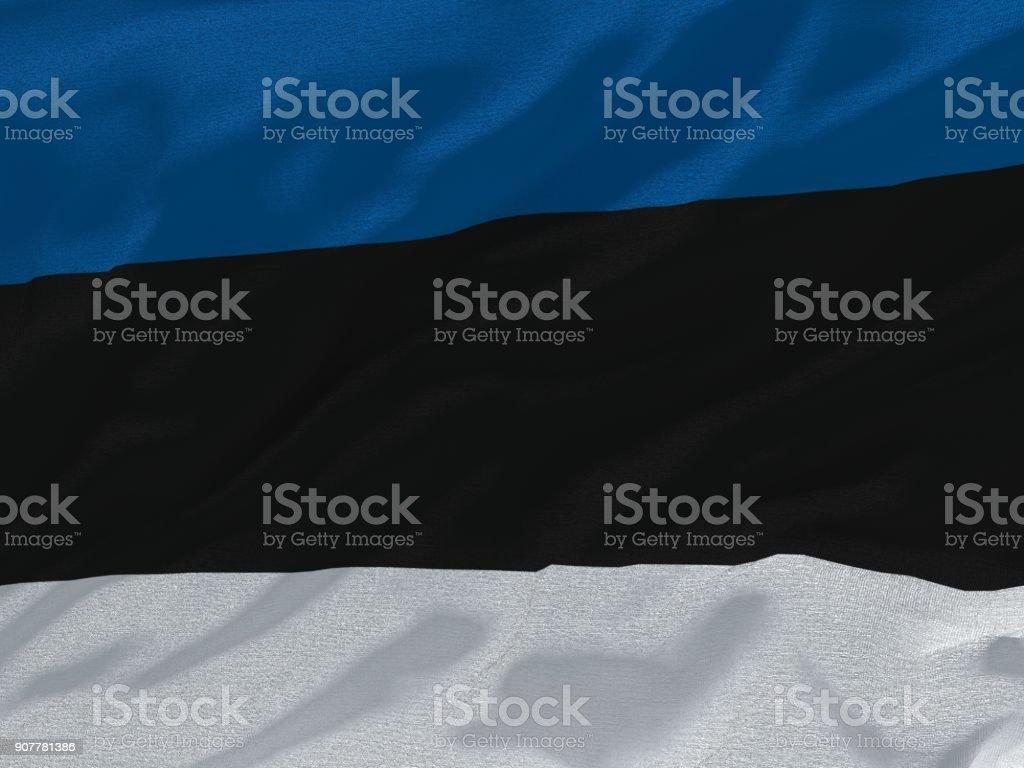 Fabric texture flag of Estonia. stock photo