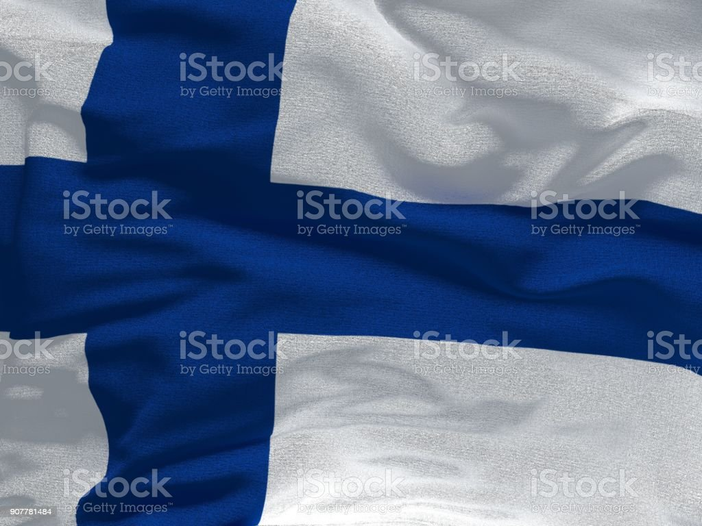 Fabric texture flag of Finland. stock photo